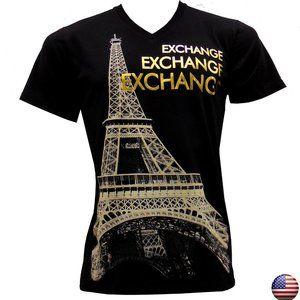 EXCHANGE PARIS TOWER EIFFEL BLACK V-NECK T-SHIRT